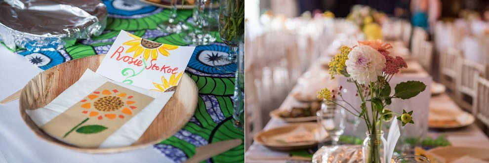 Flower placecards at One Friendly Place wedding | London wedding photography