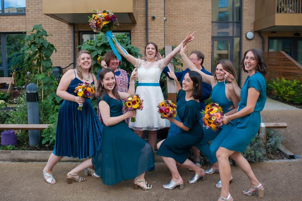 mismatched blue bridesmaids | London wedding photography