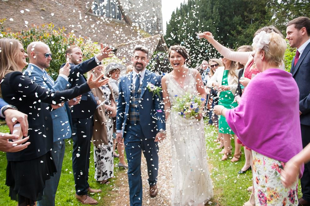 confetti at Preston Court wedding | St Mildreds church wedding