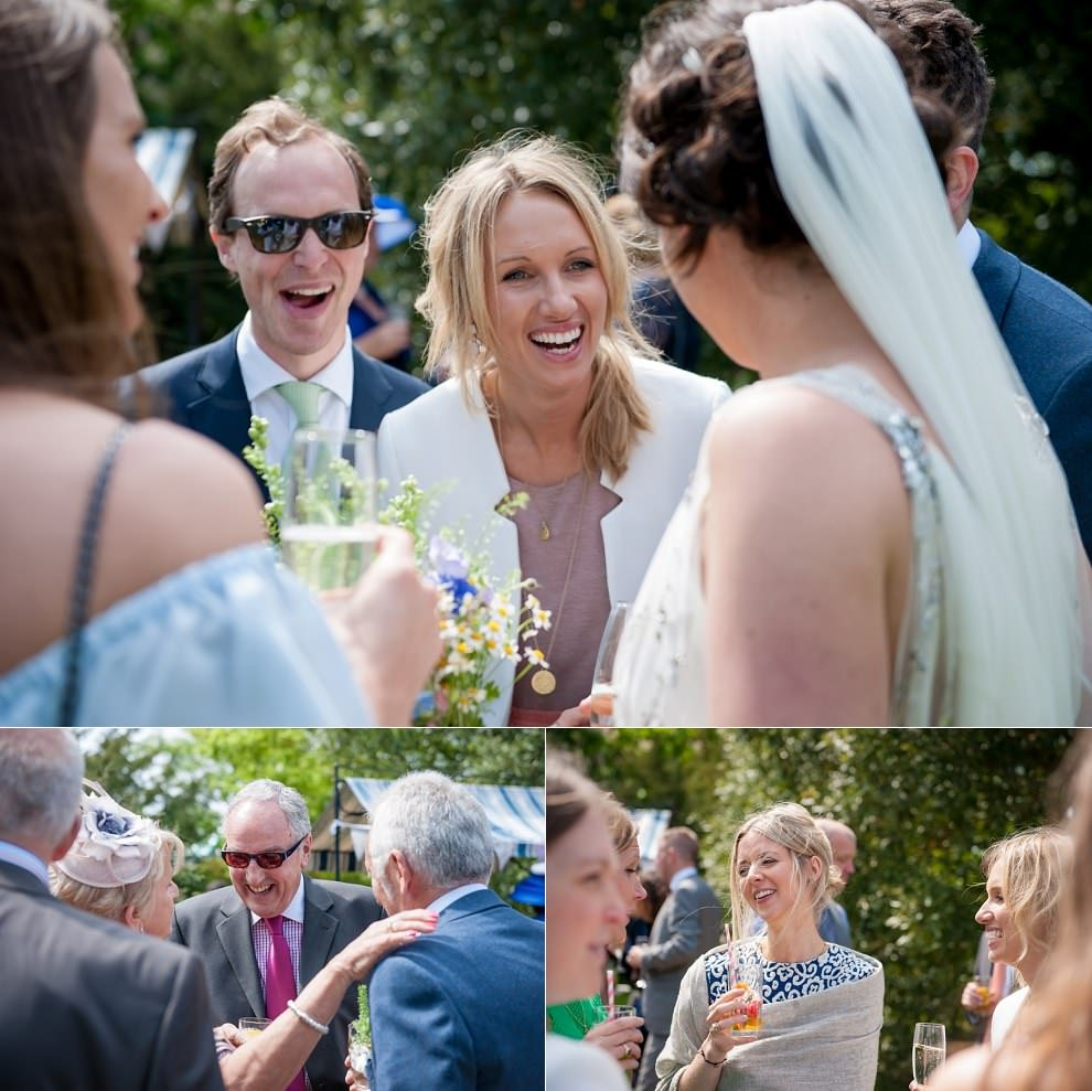 Candid photos of guests having fun at wedding Preston Court
