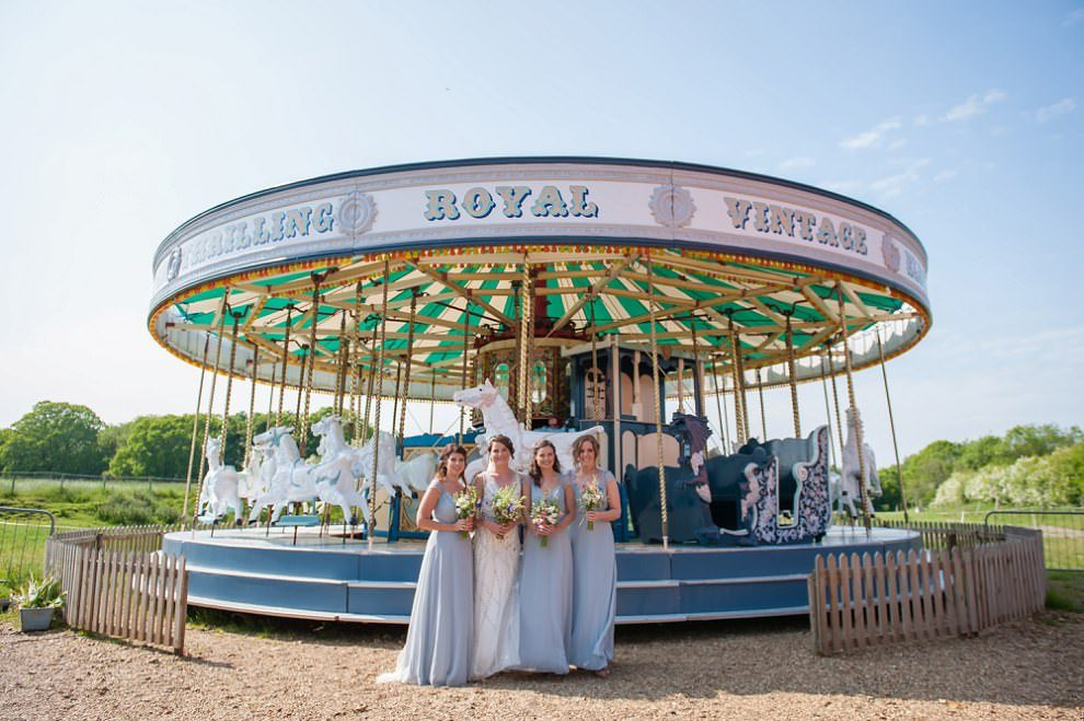 Vintage carousel Preston Court | bridesmaids light blue dresses