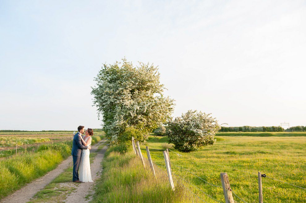 Bride & groom kissing at sunset by white-blossomed tree at Preston Court