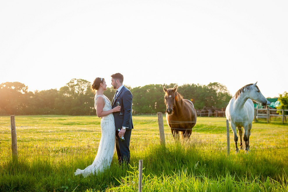 Preston Court bride & groom with horses at Preston Court