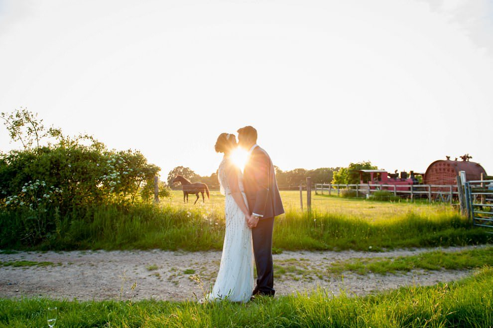wedding photo preston Court sunset flare
