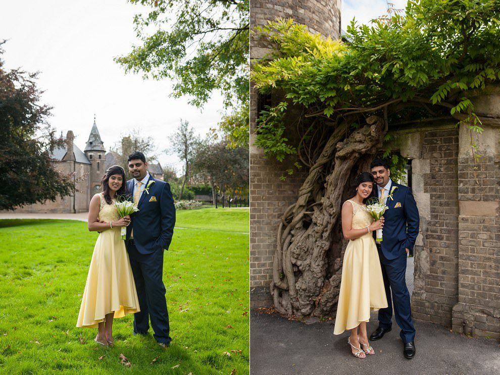 Bride yellow wedding dress at Stephens House & gardens wedding