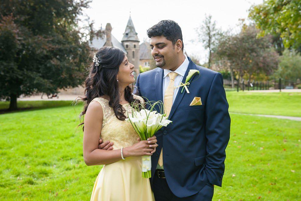 Arum lily bouquet | yellow wedding dress at North London wedding