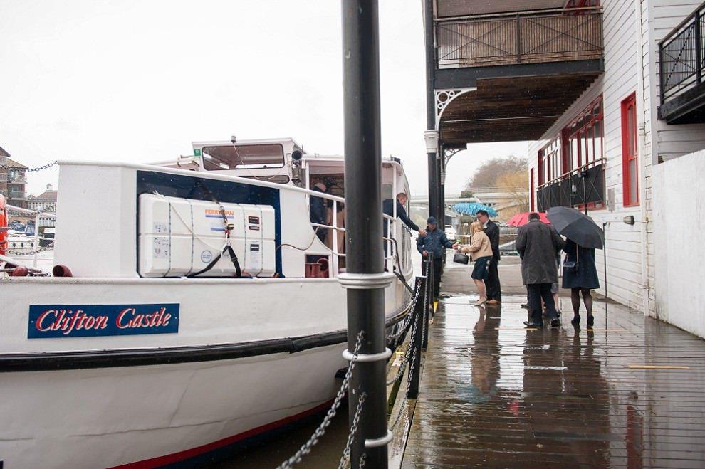 Rainy Wedding on a boat at Turks Pier Kingston | Clifton Castle